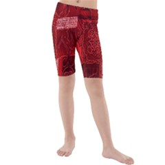 Red Background Patchwork Flowers Kids  Mid Length Swim Shorts