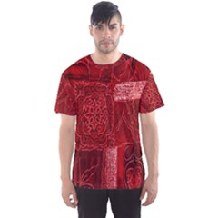 Red Background Patchwork Flowers Men s Sports Mesh Tee