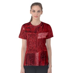 Red Background Patchwork Flowers Women s Cotton Tee