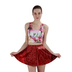 Red Background Patchwork Flowers Mini Skirt