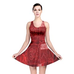 Red Background Patchwork Flowers Reversible Skater Dress