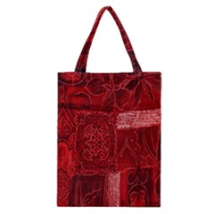 Red Background Patchwork Flowers Classic Tote Bag