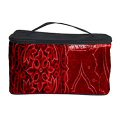 Red Background Patchwork Flowers Cosmetic Storage Case
