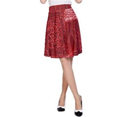 Red Background Patchwork Flowers A Line Skirt