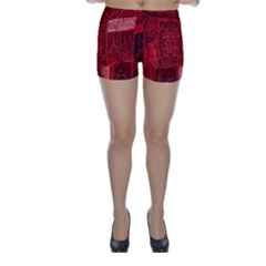 Red Background Patchwork Flowers Skinny Shorts
