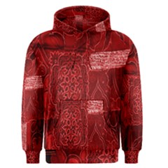 Red Background Patchwork Flowers Men s Pullover Hoodie