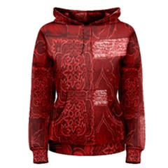 Red Background Patchwork Flowers Women s Pullover Hoodie