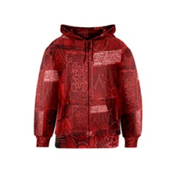 Red Background Patchwork Flowers Kids  Zipper Hoodie