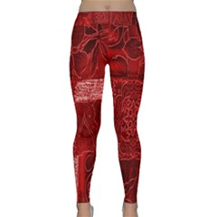 Red Background Patchwork Flowers Classic Yoga Leggings