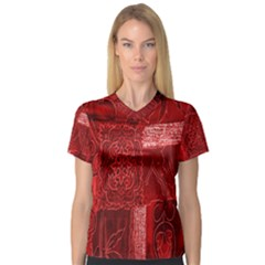 Red Background Patchwork Flowers Women s V Neck Sport Mesh Tee
