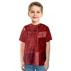 Red Background Patchwork Flowers Kids  Sport Mesh Tee