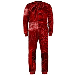 Red Background Patchwork Flowers OnePiece Jumpsuit (Men)