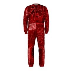 Red Background Patchwork Flowers Onepiece Jumpsuit (kids)