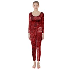 Red Background Patchwork Flowers Long Sleeve Catsuit