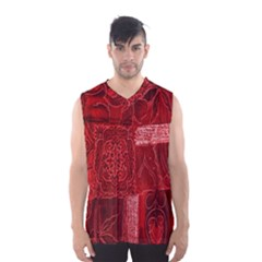 Red Background Patchwork Flowers Men s Basketball Tank Top