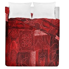 Red Background Patchwork Flowers Duvet Cover Double Side (queen Size)