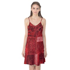 Red Background Patchwork Flowers Camis Nightgown