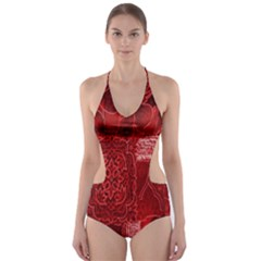 Red Background Patchwork Flowers Cut-Out One Piece Swimsuit