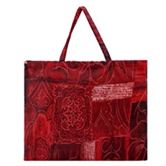 Red Background Patchwork Flowers Zipper Large Tote Bag
