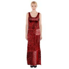 Red Background Patchwork Flowers Maxi Thigh Split Dress