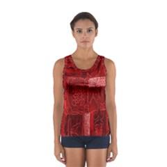 Red Background Patchwork Flowers Women s Sport Tank Top
