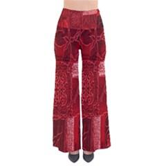 Red Background Patchwork Flowers Pants