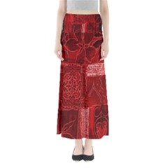 Red Background Patchwork Flowers Full Length Maxi Skirt