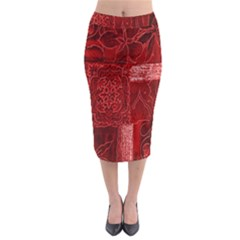 Red Background Patchwork Flowers Midi Pencil Skirt