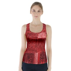 Red Background Patchwork Flowers Racer Back Sports Top