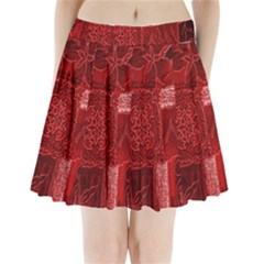 Red Background Patchwork Flowers Pleated Mini Skirt
