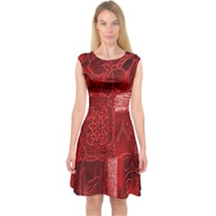 Red Background Patchwork Flowers Capsleeve Midi Dress
