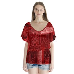 Red Background Patchwork Flowers Flutter Sleeve Top