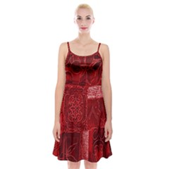 Red Background Patchwork Flowers Spaghetti Strap Velvet Dress
