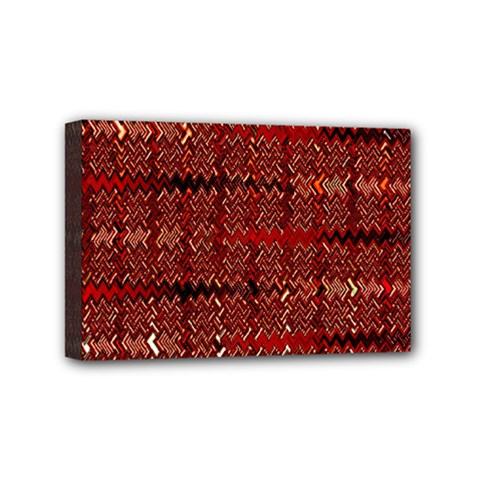 Rust Red Zig Zag Pattern Mini Canvas 6  X 4