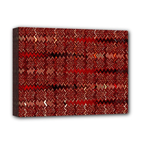 Rust Red Zig Zag Pattern Deluxe Canvas 16  x 12