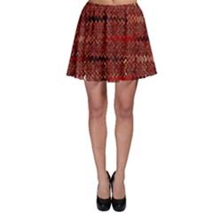 Rust Red Zig Zag Pattern Skater Skirt