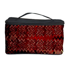 Rust Red Zig Zag Pattern Cosmetic Storage Case