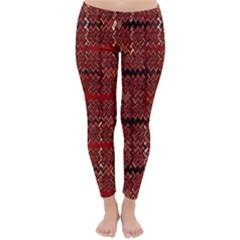 Rust Red Zig Zag Pattern Classic Winter Leggings