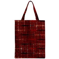 Rust Red Zig Zag Pattern Zipper Classic Tote Bag