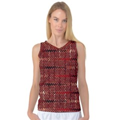 Rust Red Zig Zag Pattern Women s Basketball Tank Top