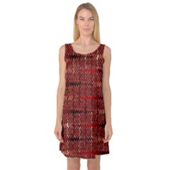 Rust Red Zig Zag Pattern Sleeveless Satin Nightdress