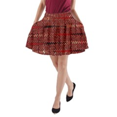Rust Red Zig Zag Pattern A-Line Pocket Skirt
