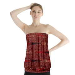Rust Red Zig Zag Pattern Strapless Top