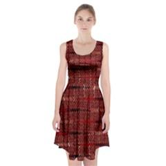 Rust Red Zig Zag Pattern Racerback Midi Dress