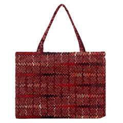 Rust Red Zig Zag Pattern Medium Zipper Tote Bag