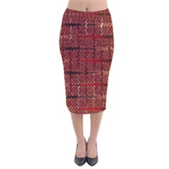Rust Red Zig Zag Pattern Velvet Midi Pencil Skirt