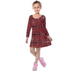 Rust Red Zig Zag Pattern Kids  Long Sleeve Velvet Dress