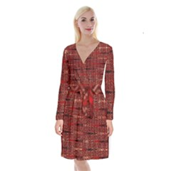 Rust Red Zig Zag Pattern Long Sleeve Velvet Front Wrap Dress