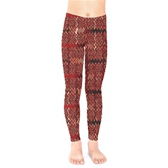 Rust Red Zig Zag Pattern Kids  Legging