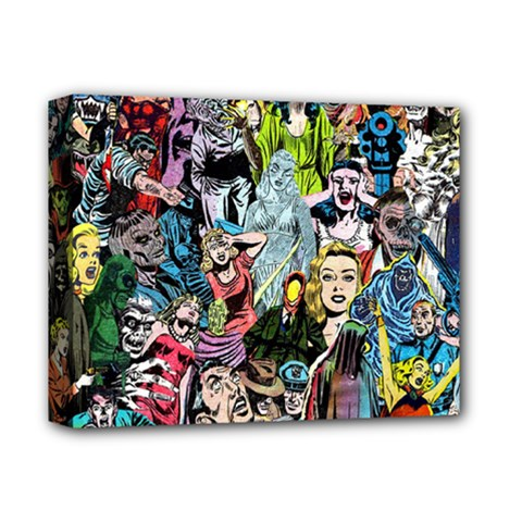 Vintage Horror Collage Pattern Deluxe Canvas 14  x 11